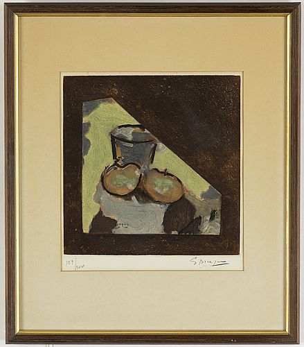 Georges braque, after, etching and aquatint in colors, 1956, signed and numbered 129/300.