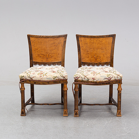 A pair of swedish grace birch chairs, 1920's/30's.