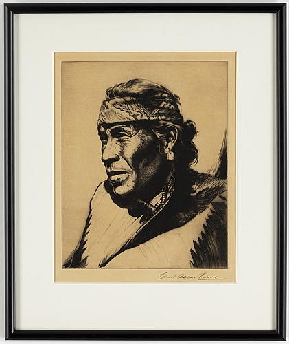 Carl oscar borg, etching, signed.