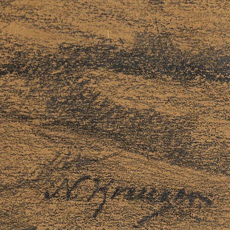 Nils kreuger, pencil drawing, signed.