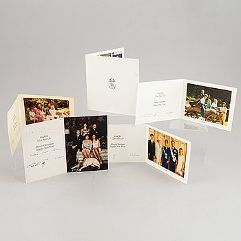 A collection of Christmas cards with greetings from the Swedish royal family, 1986-2015.