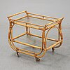 A bamboo and rattan drinks trolley, mid 20th century.