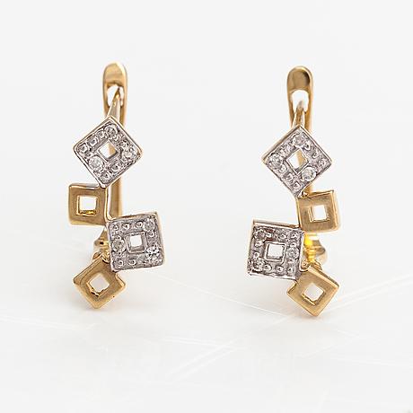 Korvakorupari, 14k kultaa, timantteja n. 0.03 ct yht.