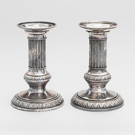 A pair of silver candlesticks, kultateollisuus, turku 1976.