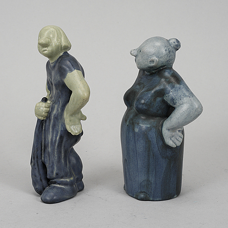 Åke holm, two signed stoneware figurines.