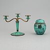 An art déco candelabrum and urn from wmf ikora.