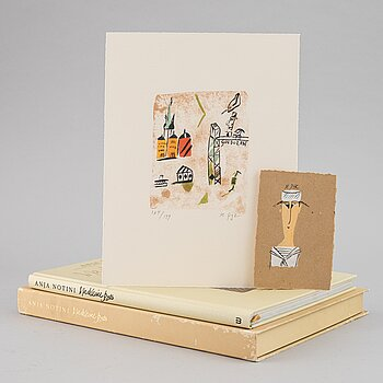 Madeleine Pyk, gouche, lithograph in colours and book.