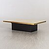 Georges mathias coffee table whit brass top, signed, 1980's.