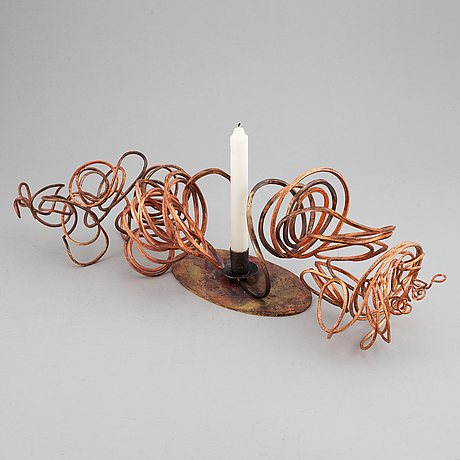 Pernilla sylwan, a unique patinated copper candlestick, lod, stockholm 2019.