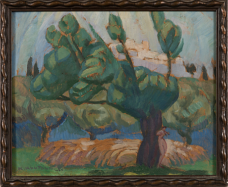 Kalle kuutola, oil on board, signed and dated -24.