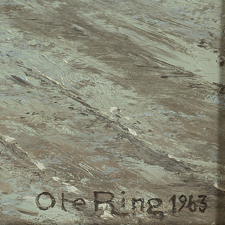 Ole ring, oil on canvas, signed ole ring and dated 1963.