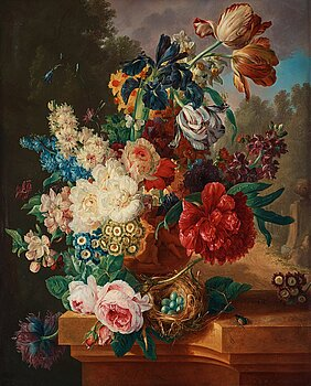 510. Gerrit Johan van Leeuwen, Still life with an urn with flowers, a birdsnest and insects.