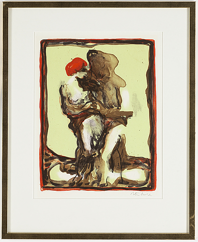 Peter dahl, lithograph in colours, signed.