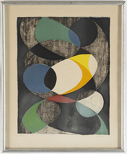 Pierre olofsson, lithograph in colours, signed 47/260.