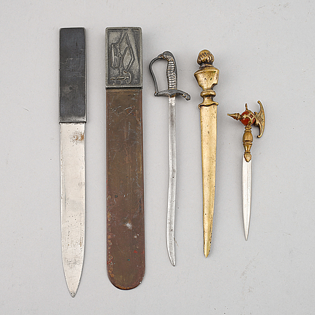 Five letter openers, 19th/20th century.