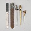 Brevknivar, 5 st, olika material, 1800-/1900-tal.