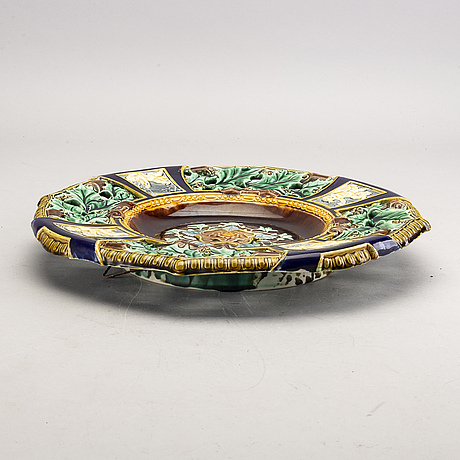 A rörstrand majolica plate later part of the 19th century.