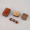 Two boxes, a matchbox and a brooch, set with agate, 19th/20th century.