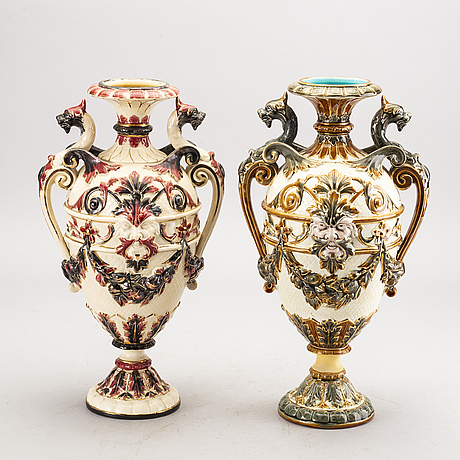 A set of two rörstrand majolica urns around 1900.