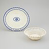 A bowl and plate, creamware, wedgwood and sewell, 19th century.