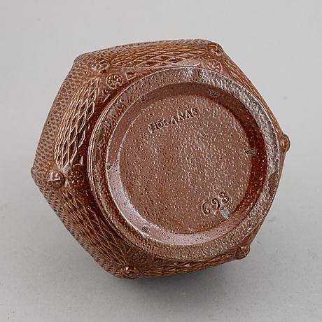 A stoneware höganäs tobacco box, ca 1900.