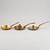 Nattljusstakar, 3 st, mässing, 1700-tal.