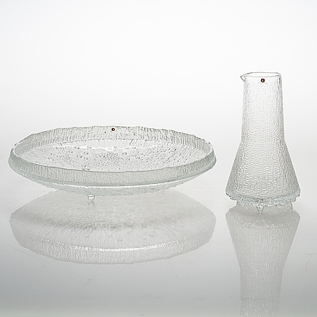 Tapio wirkkala, pitcher and plate, 'ultima thule' for iittala.