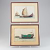 A set of 8 paintings on rice paper by unkonwn chinese artist, qing dynasty, 19th century.
