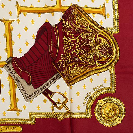 Hermès, a 'selles a housse' silk scarf.