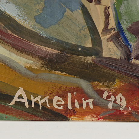 Albin amelin, mixed media on paper-panel, signed.