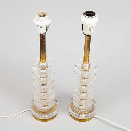 Carl fagerlund, a pair of table lamps, orrefors.