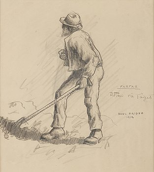 Axel Fridell, pencil drawing, signed and dated 1912.