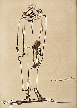Axel Fridell, indian ink, signed.