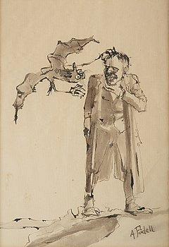 Axel Fridell, indian ink and wash, signed.