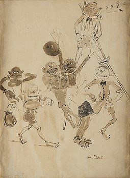 Axel Fridell, indian ink with wash, signed.