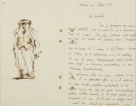 Axel fridell, ink. illustrated letter to reinhold von rosen. signed with initials.