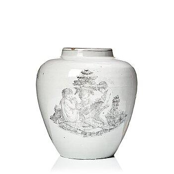 301. Urna, fajans. Marieberg, 1700-tal.