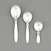 3 silver spoons, georg jensen, denmark, model 'kaktus/ cactus'.
