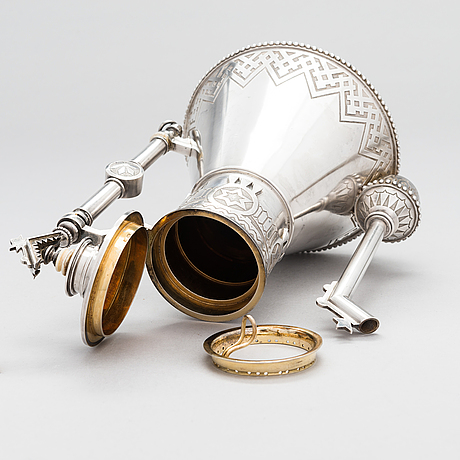 A silver coffee pot, saint petersburg 1875, presumably ivanov pyotr ivanovich.