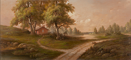 Rudolf åkerblom, oil on cardboard, signed.