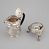 A silver teapot and rechaud, london 1815-16.