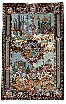 """284. Matta, Old Täbris figural, """"De fyra årstiderna"""", ca 274 x 176 cm."""
