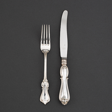 A silver cutlery, gab, model olga, some stockholm 1955.(24 pc).