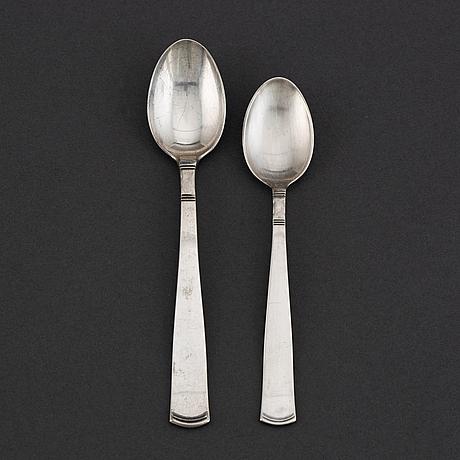 12 + 12 silver spoons 'rosenholm', design jacob ängman, gab, some stockholm 1967.