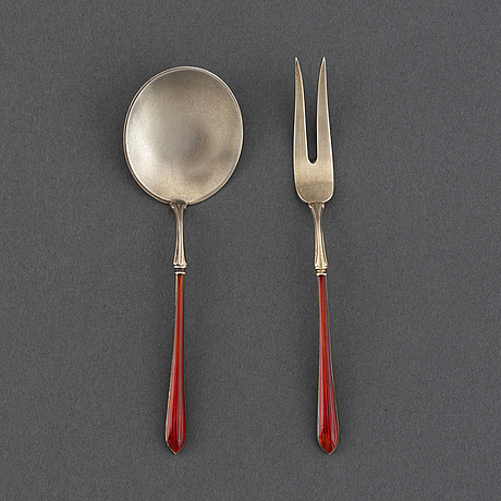 4+4 pc silver and enamel cutlery, j tostrup, oslo circa 1920.