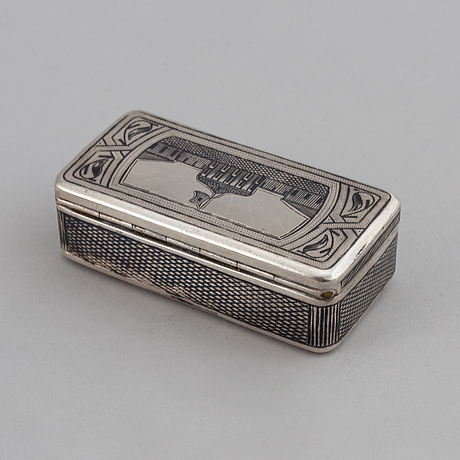 A russian parcel-gilt silver niello box, unidentified makers mark, moscow 1888.
