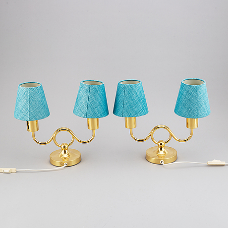 Jose frank, two model 2483 brass table lamp, for firma svenskt tenn.