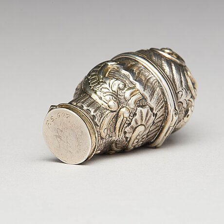 A rococo, parcel-gilt silver snuff-box, unidentified makers mark, possibly norway.
