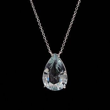 Pear shaped aquamarine necklace 3,4 ct.