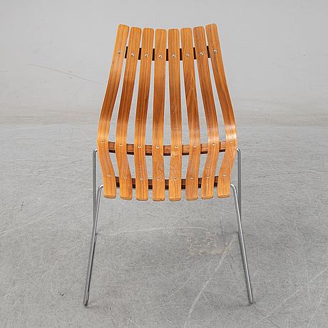 Hans brattrud, six 'scandia junior' chairs, hove möbler, norway, designed in 1957.